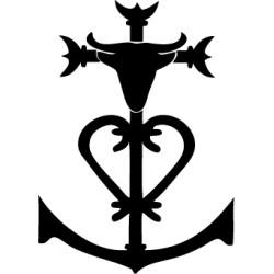 Croix camarguaise avec tête taureau