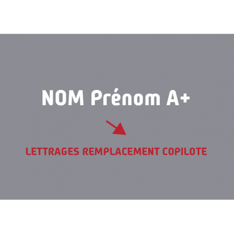 LETTRAGE REMPLACEMENT COPILOTE