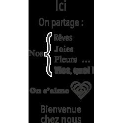 Sticker citation Ici on partage ensembles nos rêves